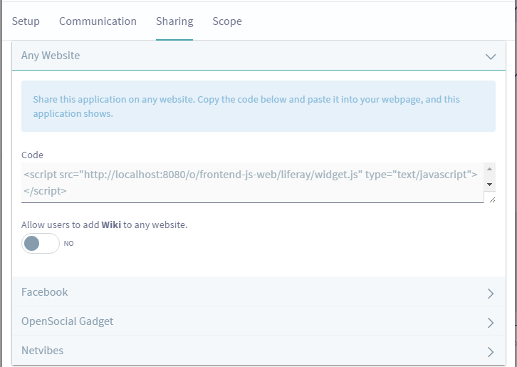 Figure 1: The Sharing tab in your apps Configuration menu lets you share your app in a variety of ways.