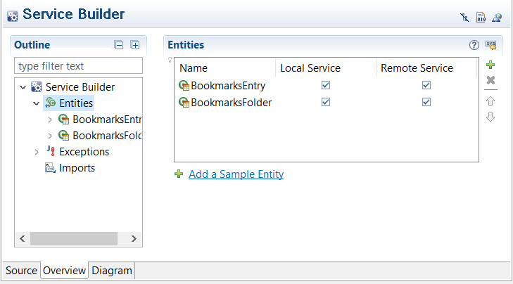 Figure 1: Adding service entities in your service.xml file is easy with Liferay Dev Studio DXPs Overview mode.