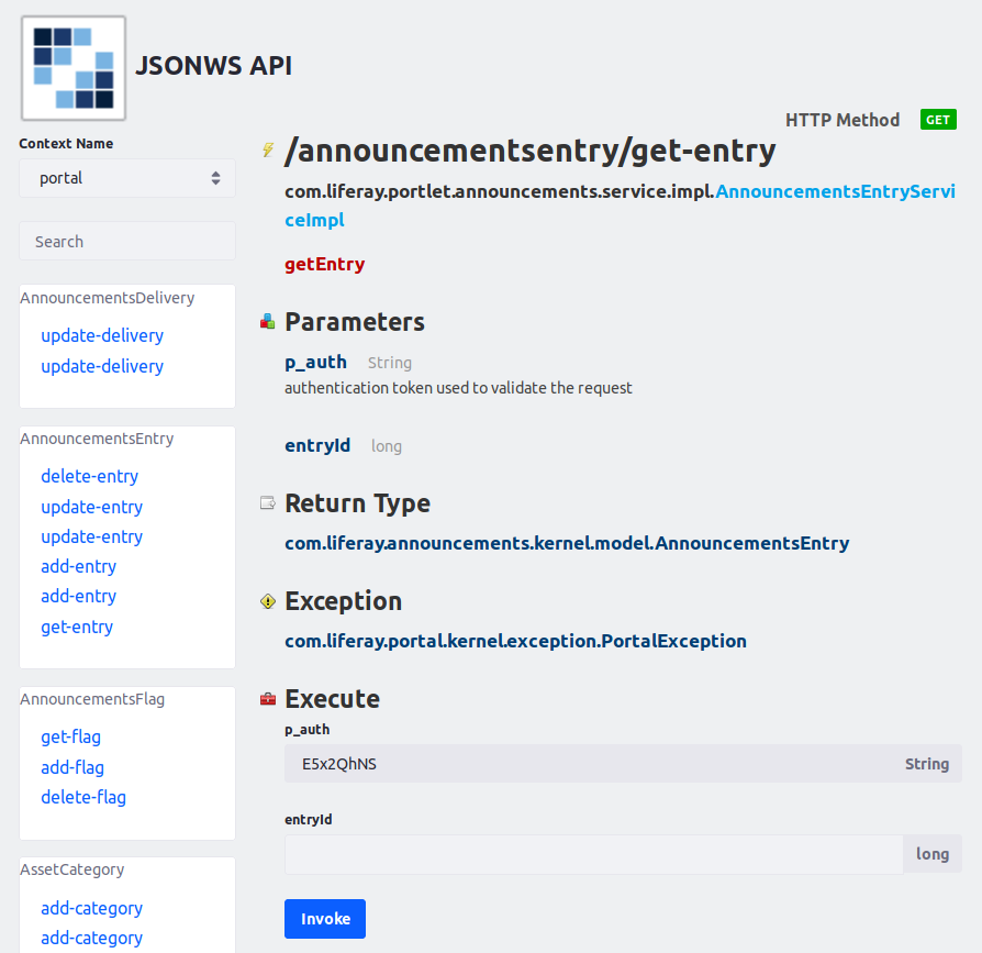 Figure 1: The JSON web services page for an entitys remote service method also lets you invoke that service.