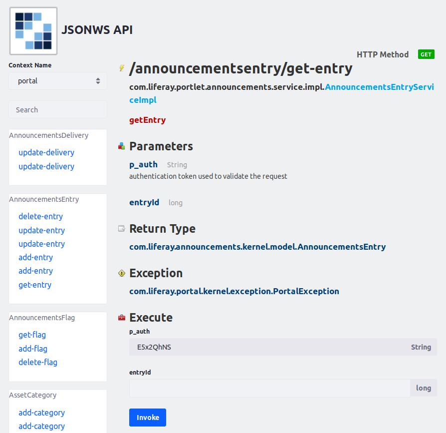 図1:エンティティのリモートサービスメソッドのJSON Webサービスページでも、対象のサービスを呼び出すことができます。