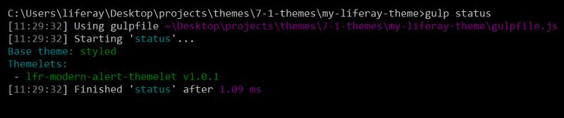 図1: gulp status タスクを実行して、テーマの現在の拡張機能を一覧表示します。