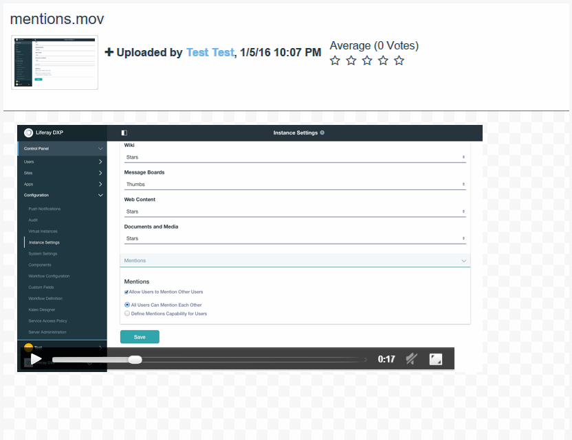 Figure 7: By leveraging services like Xuggler and ImageMagick, you can watch a video clip or even view a slideshow inside Liferay DXPs Documents and Media app.