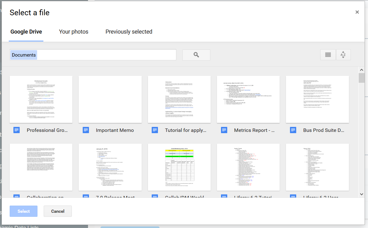Figure 1: You can select files from Google Drive™ or your photos.