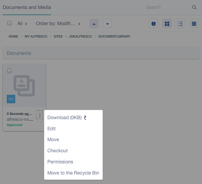 Figure 3: Documents and Media lets you perform CMIS supported actions on external repository files.