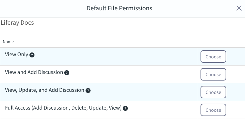 Figure 3: Click Choose to select the default file permissions for a site in Sync.