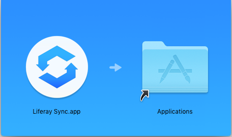 Figure 1: Drag the Liferay Sync icon to the Applications folder.