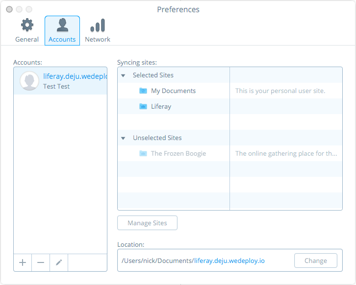 Figure 10: The Preferences menus Accounts tab lets you manage syncing with sites per account.