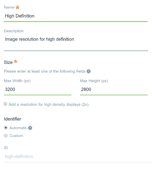 Figure 1: The form for adding a new Adaptive Media resolution.