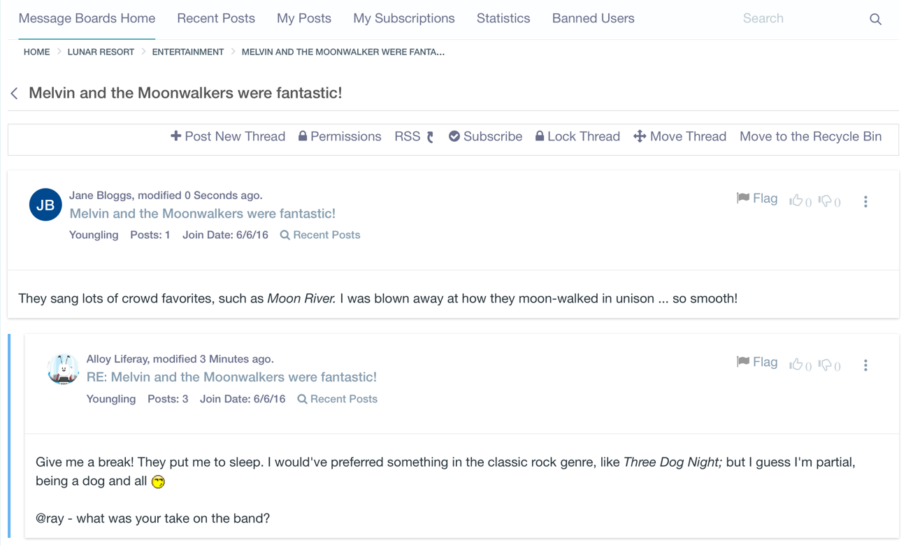 Figure 5: A threads view displays author information and thread content, for the thread and all replies to the thread.
