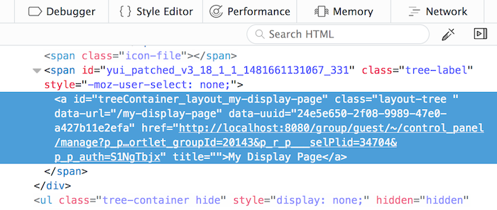Figure 3: The URL and UUID can be seen in the data-url and data-uuid attributes of the Layout Item Selectors HTML markup.