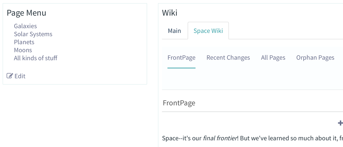 Figure 15: The Page Menu application displays all of a wiki pages outgoing links to other wiki pages.