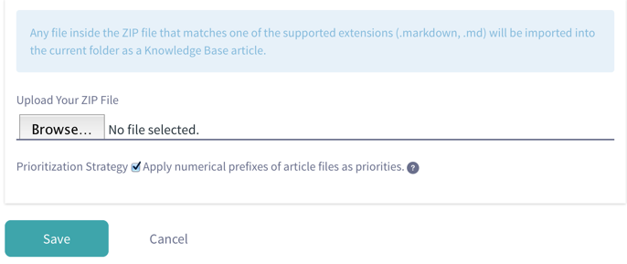 Figure 11: Selecting Add → Import in Knowledge Base brings up the interface for selecting a ZIP file of Markdown source files and images to produce and update articles in your Knowledge Base.