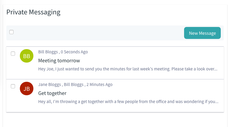Figure 1: The Private Messaging Interface functions just like an email client for use within a Portal instance.