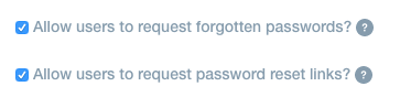 Checkboxes for the password recovery features in your Liferay instance.