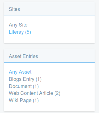 Figure 4: Sites and Asset Entries are two of the facet sets youll encounter. They let you drill down to results that contain the search terms you entered.