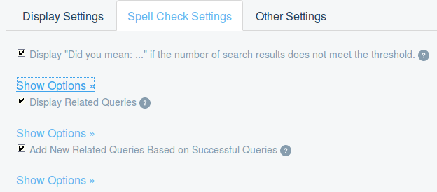 Figure 3: Configure the spell check settings to allow for user input mistakes and help lead users to results.