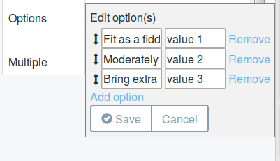 Figure 18: The properties of a definitions data fields are configurable. For example, add and edit options for the How fit are you? Select field drop-down menu on the Activity Entry form.