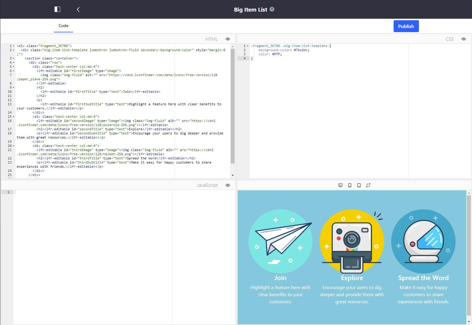 図3:フラグメントエディターには、HTML、CSS、JavaScriptの3つのペインビューがあり、プレビューペインが最終結果をレンダリングします。