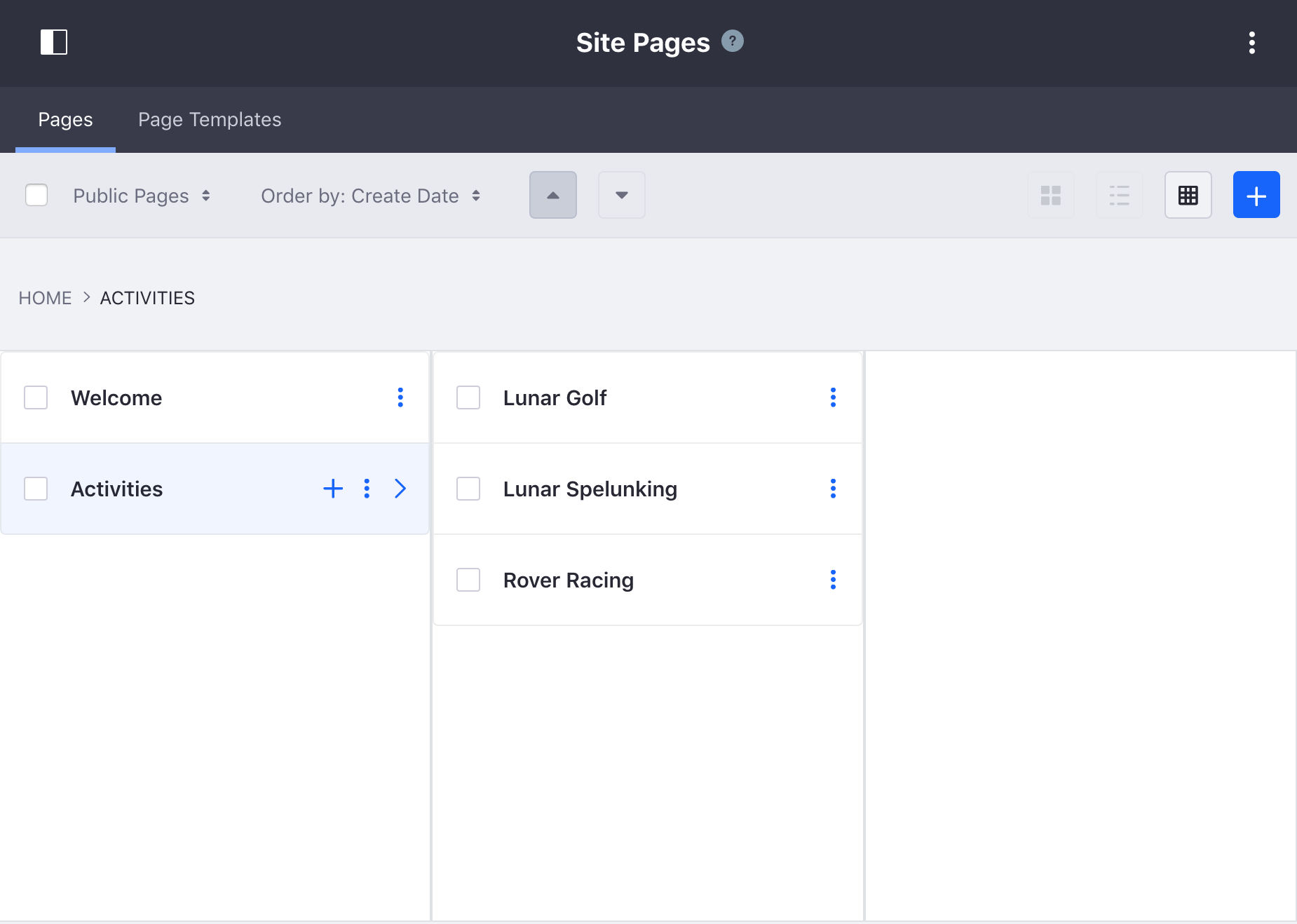 Figure 1: The Sites Pages page allows you to edit your Site pages as a whole.