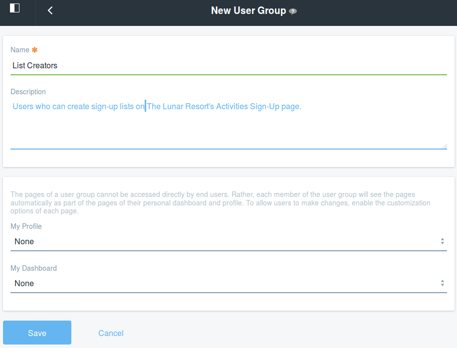 Figure 2: Provide a name and a description for your new User Group.