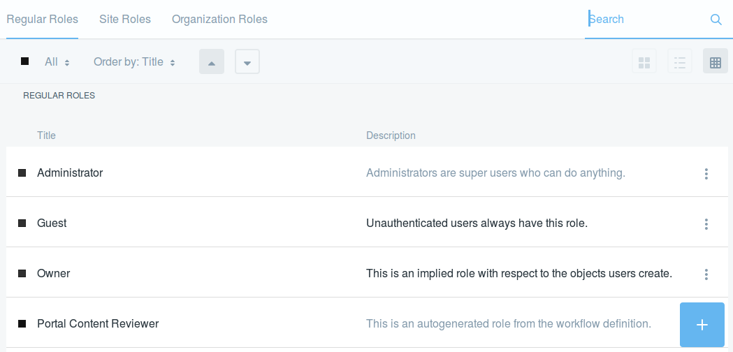 Figure 1: The Roles application lets you add and manage roles for the global (Regular), Site, or Organization scope.