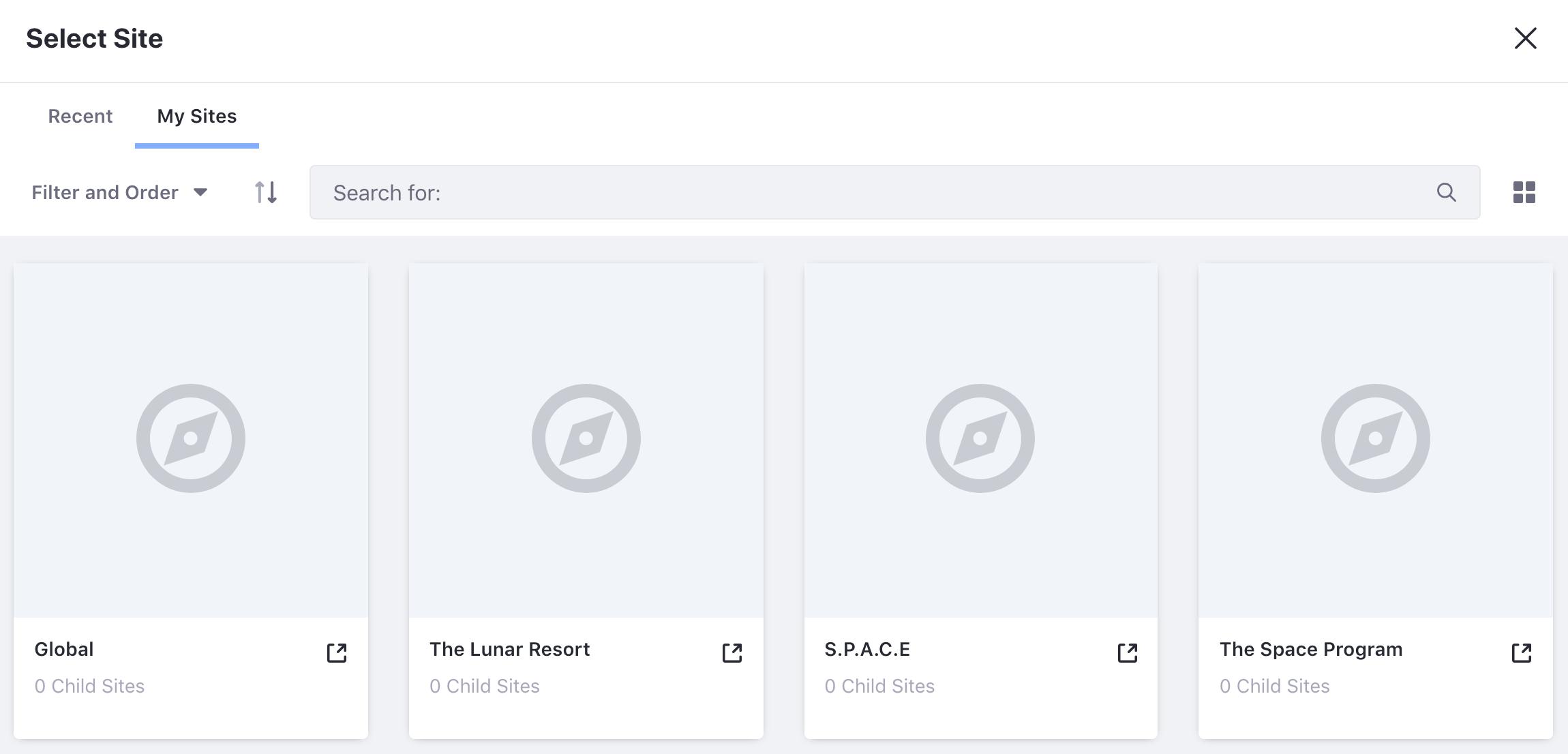 図1:コンテンツを作成する場所を選択するには、サイトの管理メニューに移動し、サイトとページのスコープを選択します。