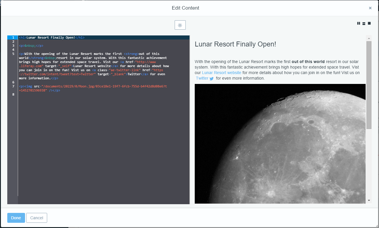 Figure 2: You can view how your HTML would render by using the preview pane.