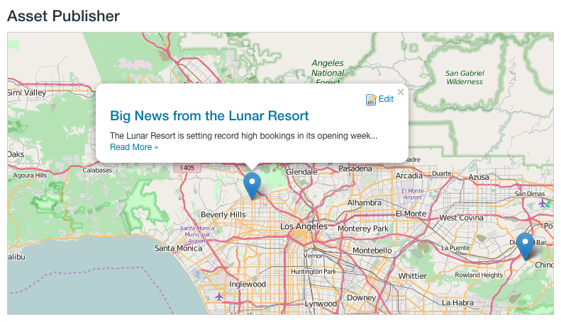 Figure 5: The Asset Publisher can display your geolocated assets on a map.