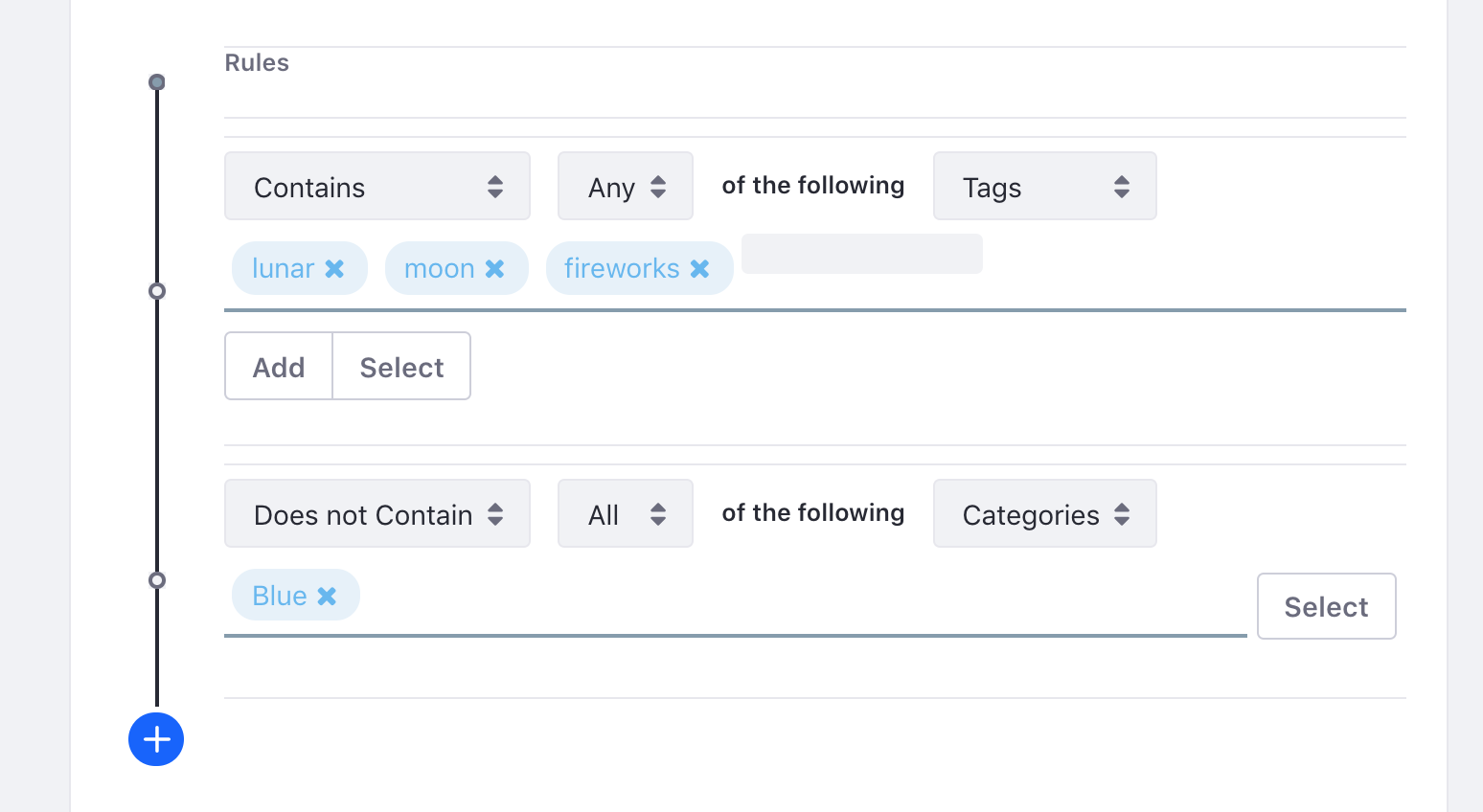 Figure 2: You can filter by tags and categories, and you can set up as many filter rules as you need.