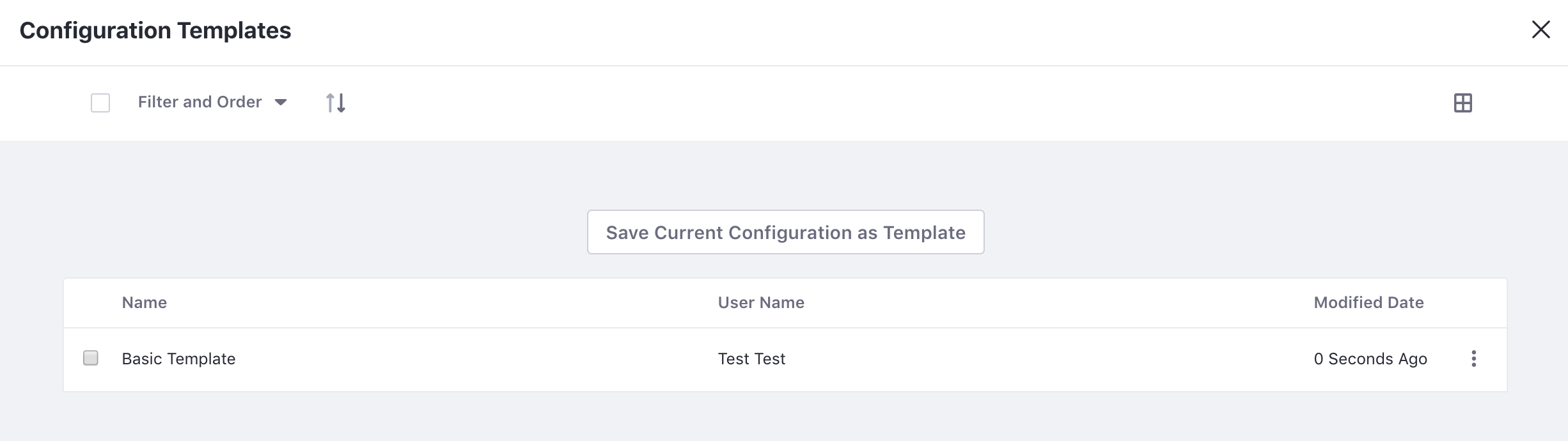 Figure 1: Create a configuration template to save your apps configuration settings.