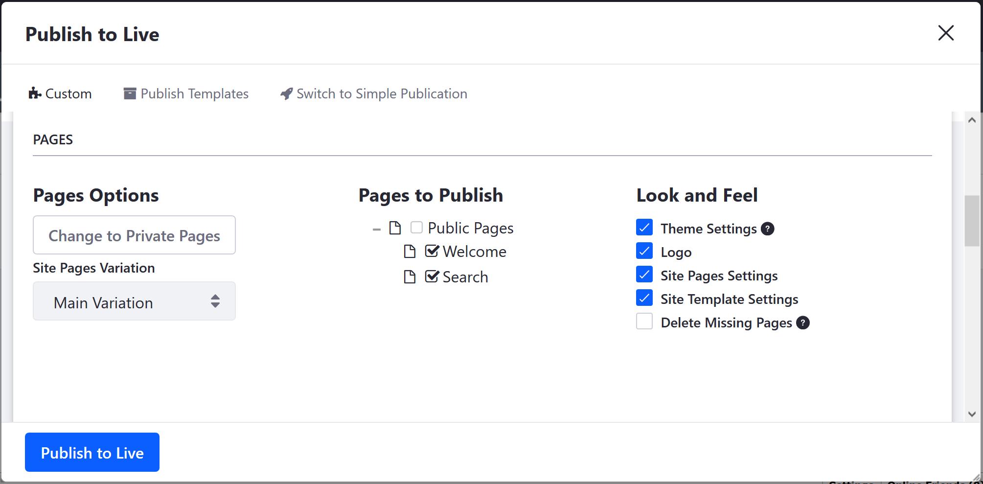 図1:文書に含めるページを指定する方法はいくつかあります。