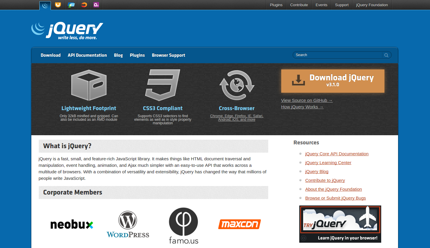 Figure 3: jQuery is a fast, small, and feature-rich JavaScript library.