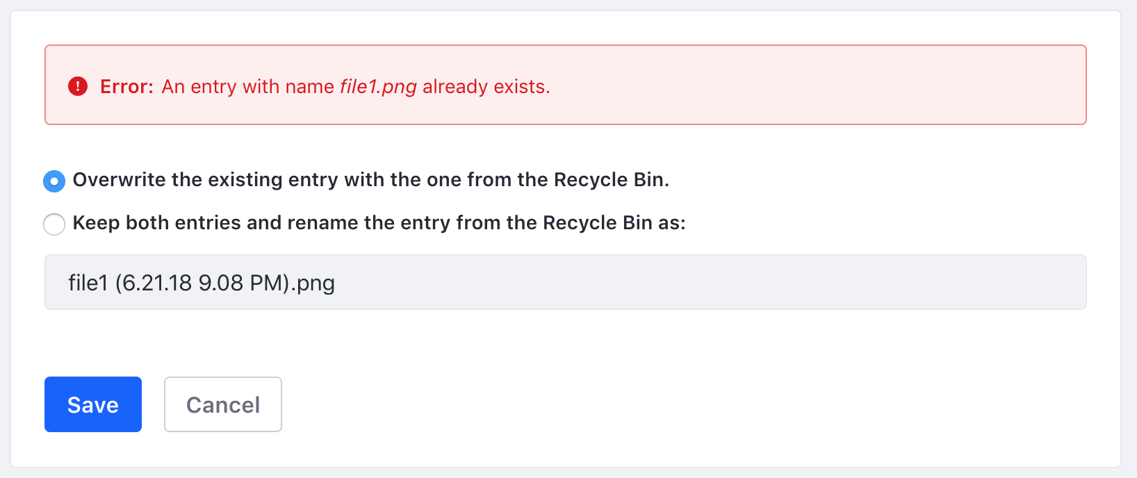 Figure 1: The Recycle Bin always scans your site/instance for duplicate file names during the restoration process.