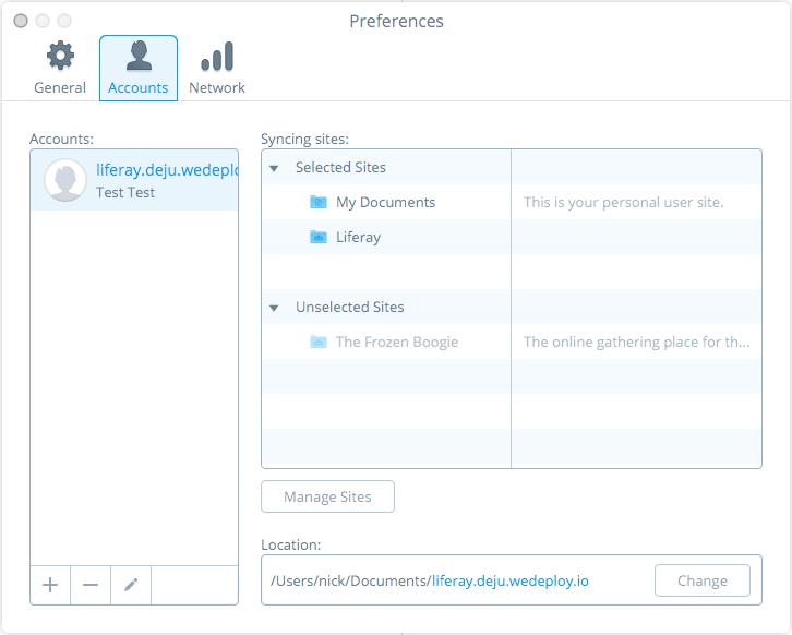 図3:設定メニューのアカウントタブで、アカウントごとのサイトとの同期を管理できます。