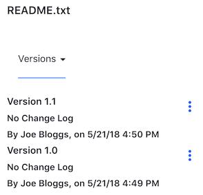 図1:Liferay Syncを使用してファイルを更新すると、ファイルのバージョン番号が増加します。 ファイルのバージョン番号は、Webインターフェイスを介して表示できます。