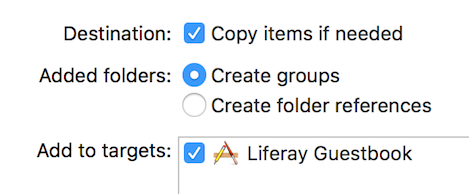 Figure 4: When adding the Guestbook Mobile SDK to your project, select these options and then click Finish.