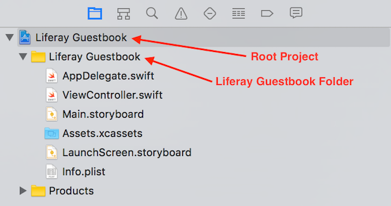 Figure 1: The root project and Liferay Guestbook folder are labeled in this screenshot.
