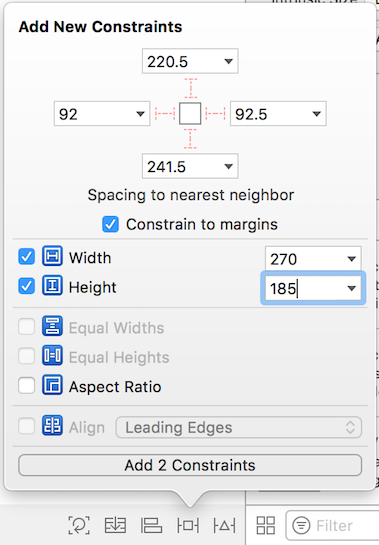 Figure 4: Setting these size constraints ensures that Login Screenlet isnt too stretched out or compressed.