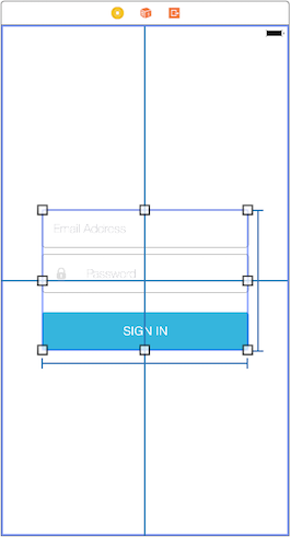 Figure 5: With the alignment and size constraints set, Login Screenlet appears in the center of the scene and its UI components arent too compressed or stretched out.