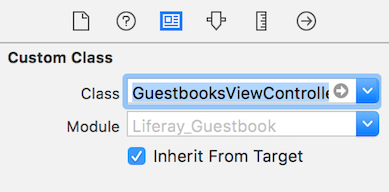 Figure 5: Set GuestbooksViewController as the custom class of the guestbooks scenes view controller.