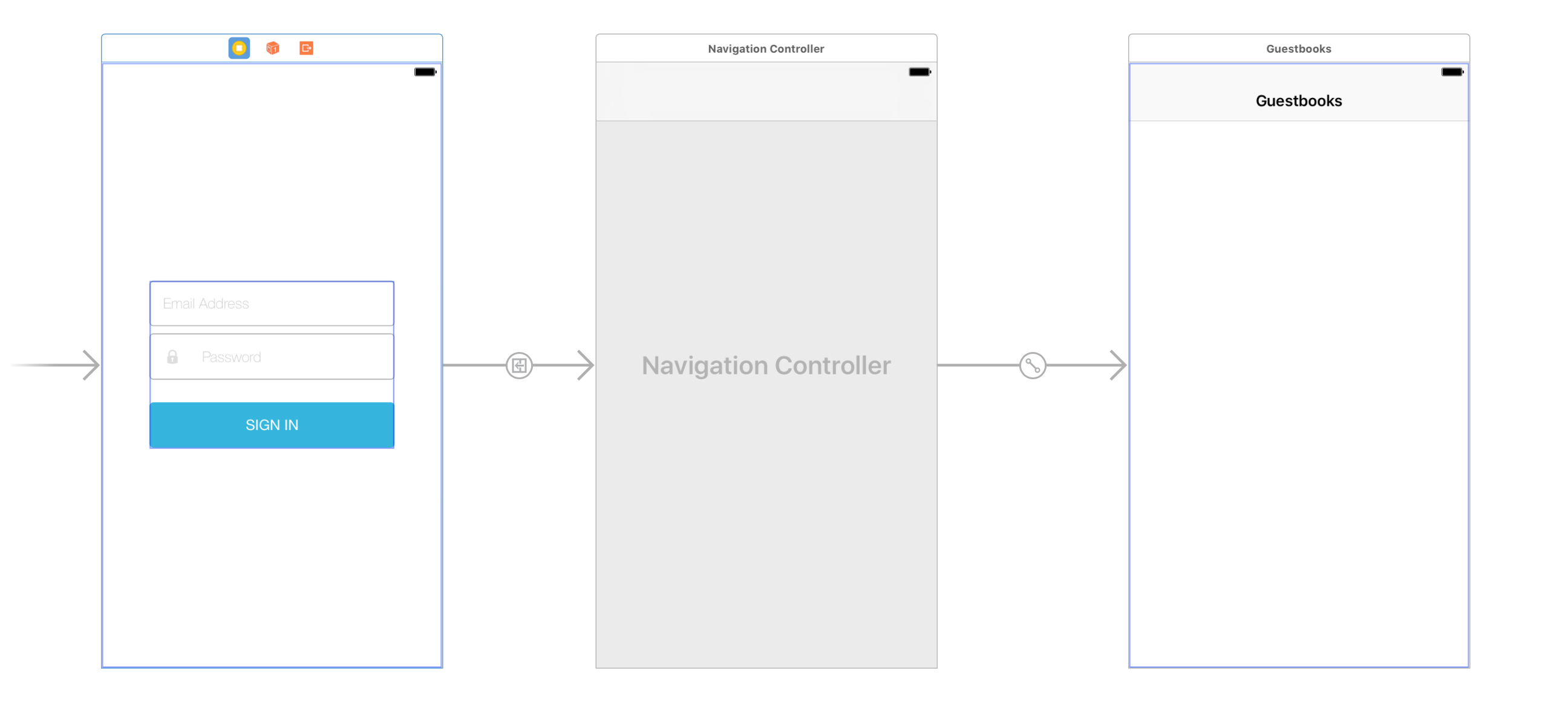 Figure 6: A segue now exists from the login scene to the navigation controller.