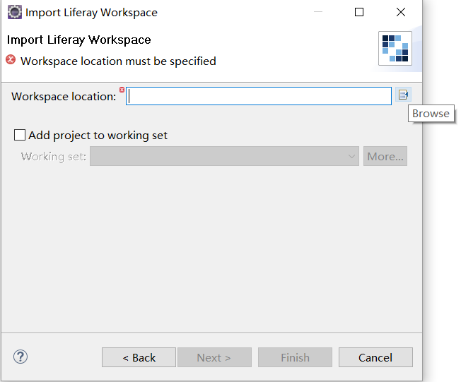 Figure 6: You can import an existing Liferay Workspace into your current Developer Studio session.