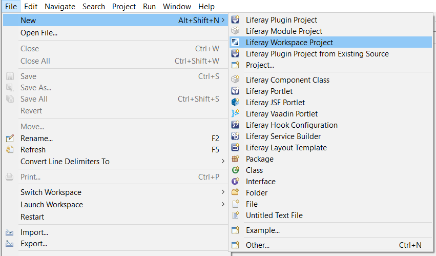 Figure 1: By selecting Liferay Workspace, you begin the process of creating a new workspace for your Liferay projects.