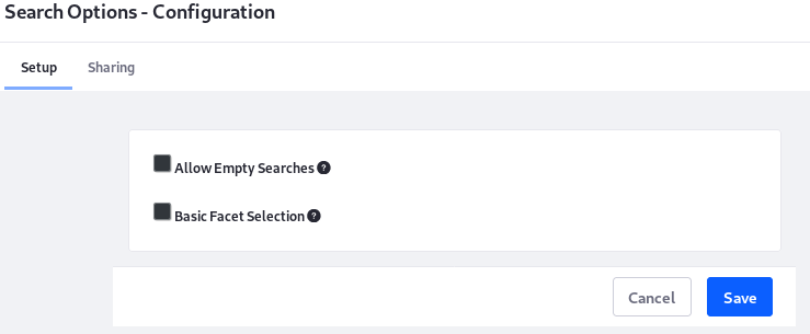 Figure 9: The Search Options widget configures the search experience for the page its deployed on.
