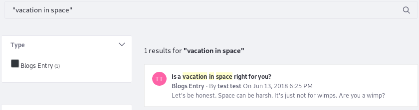 Figure 3: Search for exact phrase matches by enclosing search terms in quotes. If a user searched for space vacation, this result would not be returned.