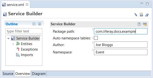 Figure 1: The Overview mode in the editor provides a nested outline which you can expand, a form for editing basic Service Builder attributes, and buttons for building services or building web service deployment descriptors.