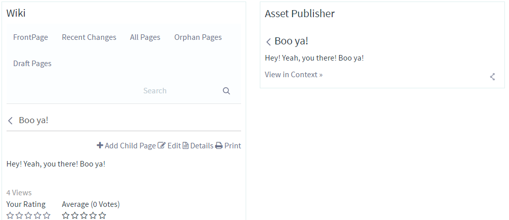 Figure 1: It can be useful to show custom entities, like this wiki page entity, in a JSP or in an Asset Publisher.