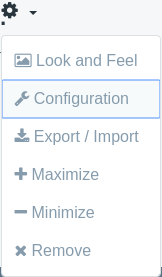 When a user clicks the gear icon and selects Configuration, the applications configuration action is invoked.