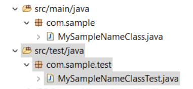 Figure 2: In this example module, the JUnit test class is in the same module of the class it tests. The test class resides in a source folder and package following standard test structure conventions.