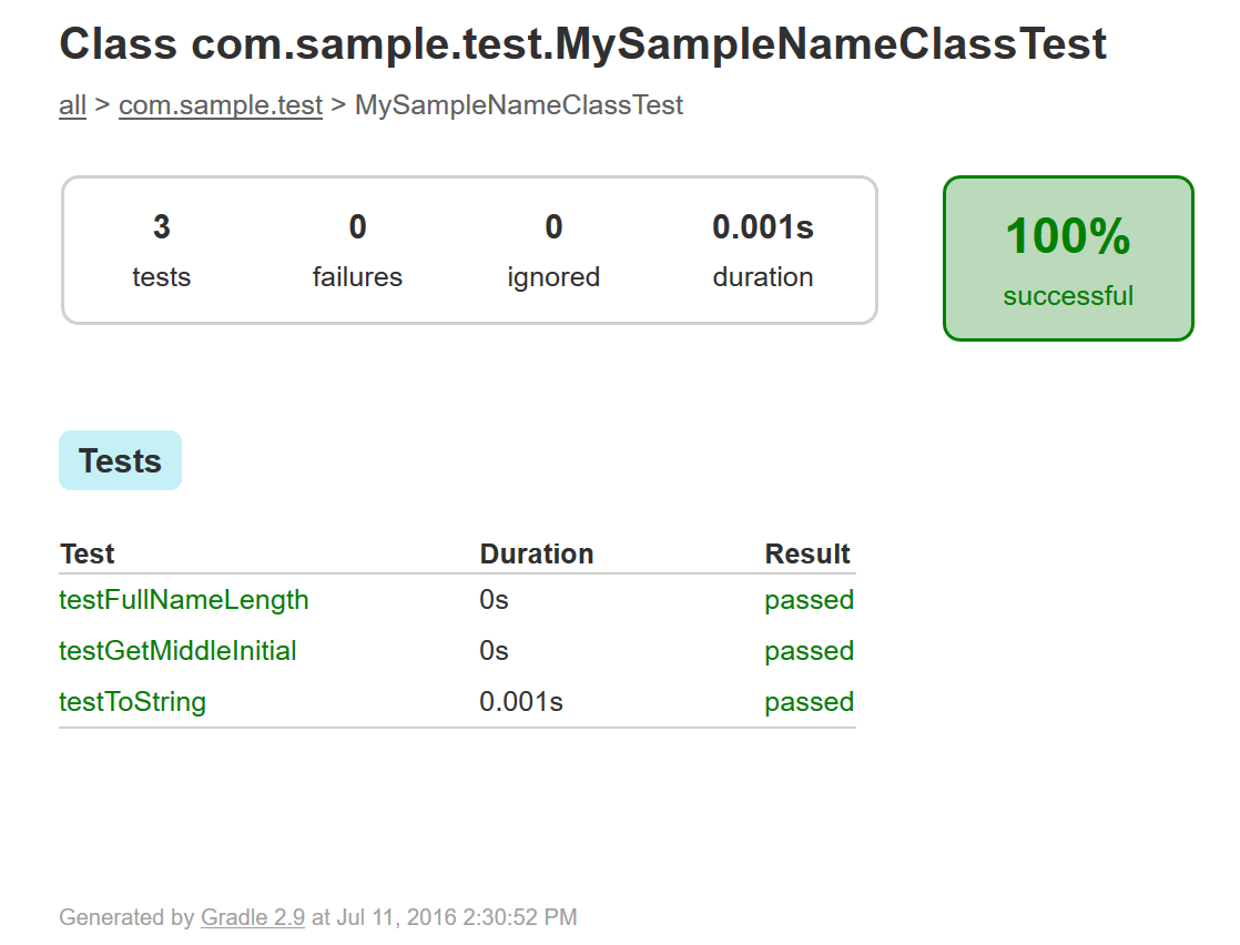 Figure 4: In Gradle environments, JUnit produces an HTML file named index.html that reports test result details.